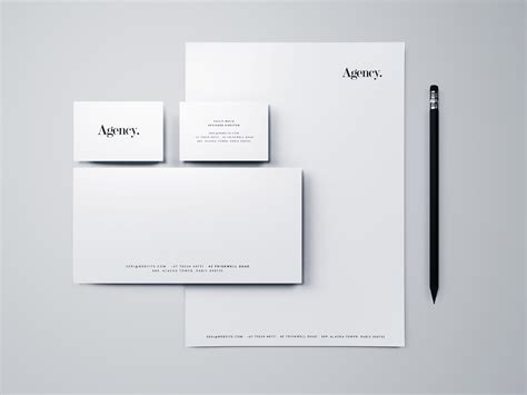 business card letterhead envelope mockup minimal branding stationery mockup