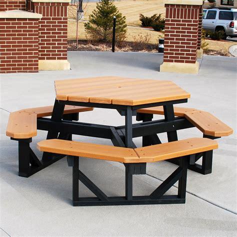 outdoor restaurant picnic tables jayhawk plastics hex recycled plastic commercial picnic