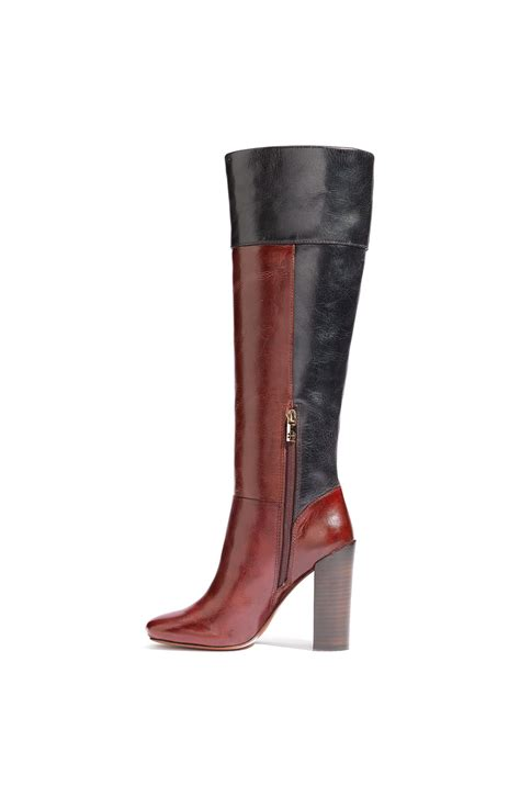 burch color block leather boots in blue