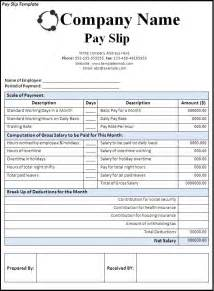 Payslip Templates by Payslip Template Word Excel Formats
