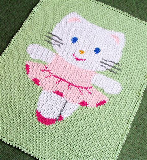 pattern for cat afghan crochet patterns kitty ballerina afghan pattern easy ebay