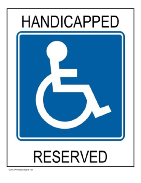 printable handicapped reserved sign