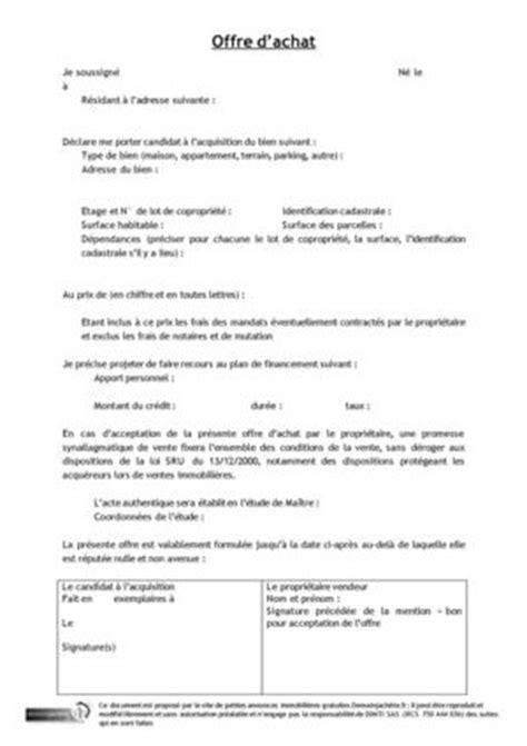 Exemple De Lettre Offre D Achat Immobilier Modele Document Offre Dachat
