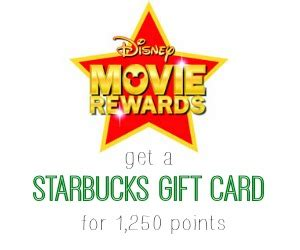 Where Can I Buy Disney Store Gift Cards - disney movie rewards 10 starbucks gift card for 1 250 points southern savers