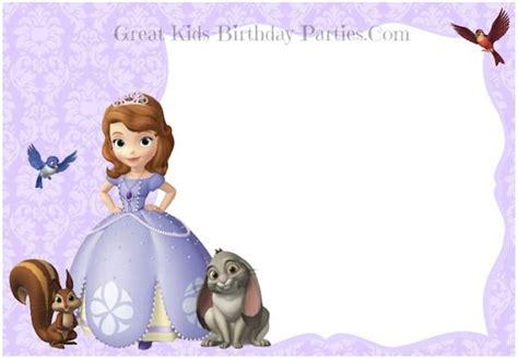 Princess Sofia Birthday Card Template by Sofia The Invitations S Bdays