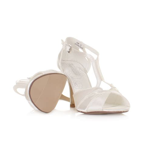 Strappy Ivory Bridal Shoes by Womens Ivory Strappy Wedding Satin Bridal Sandals