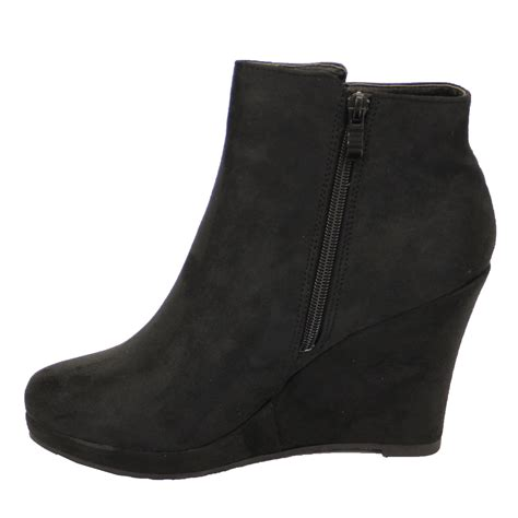 wedge platform boots womens chelsea ankle suede