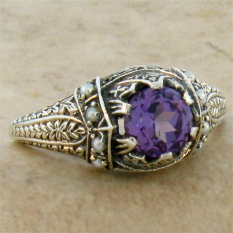 color changing lab alexandrite antique style 925 sterling