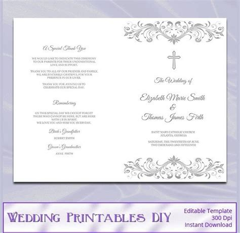 template trifold wedding program template free one page templates