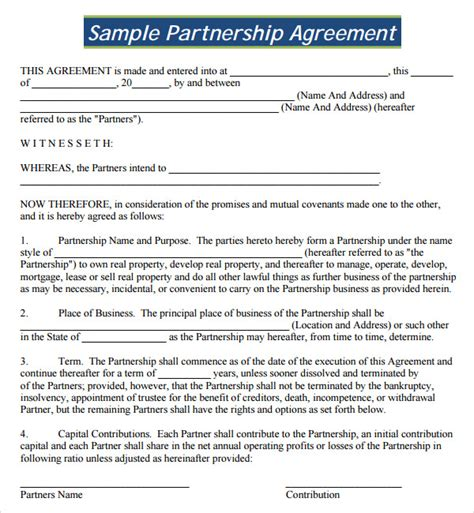 partner contract template sle partnership agreement 13 free documents