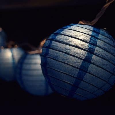 10 Socket Dark Blue Round Paper Lantern Party String