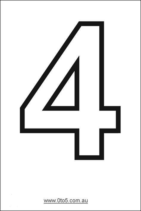 number template number four printable template s strawberry