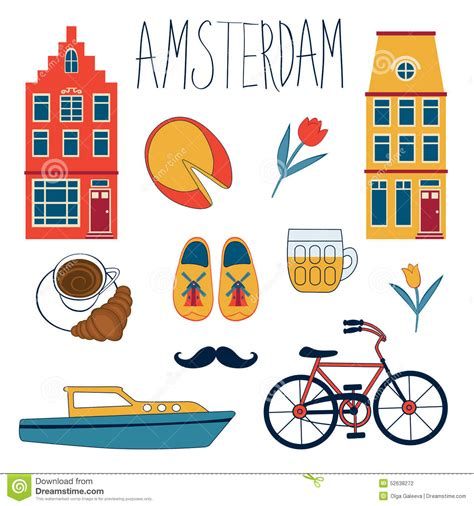 Colorfull Set colorful amsterdam set stock vector image 52638272