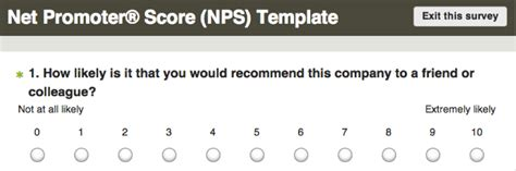 net promoter score survey template net promoter 174 score nps survey surveymonkey