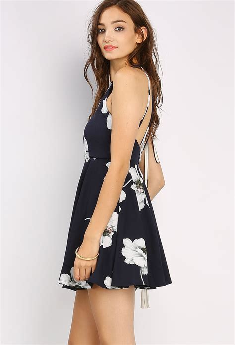 Zackynza Flowery Flare Mini Dress flower patterned flare mini dress shop day dresses at papaya clothing
