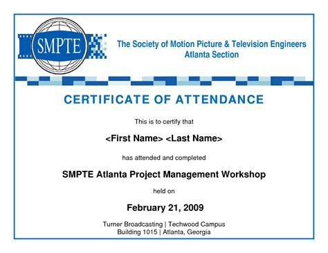 attendance certificate templates best photos of template of certificate of attendance