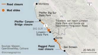 california road conditions map highway 1 conditions in big sur california