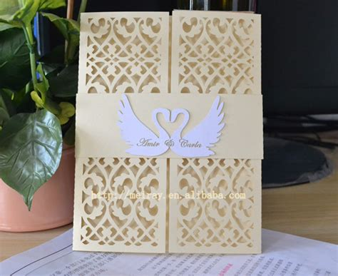 Swan Wedding Invitation Cards by Laser Cut Wedding Invitations Swan Wedding