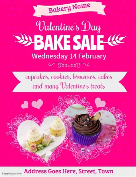 Valentine039s Day Bake Sale Flyer Template