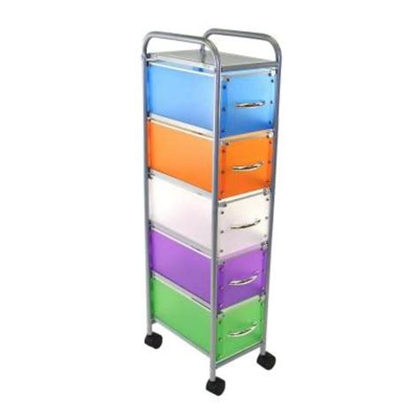 4d concepts 5 drawer rolling storage cart in multicolor