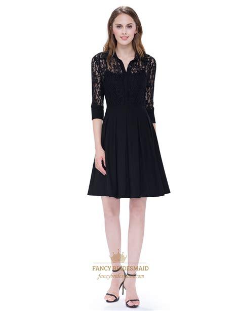 99 Dress Jumbo Black Pro womens v neck black dress knee length with lace sleeves fancy bridesmaid dresses