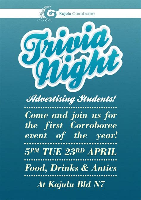 themes for a quiz night poster design for an advertising trivia night creative