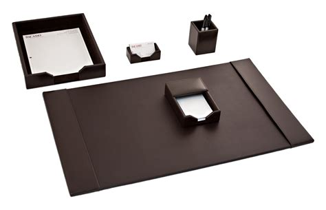 office desk accessories set d3602 dark brown bonded leather 5 piece desk set