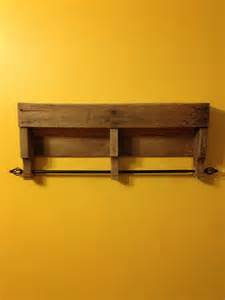 rustic pallet bathroom shelf and towel rack pallet