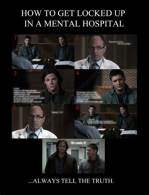 Funny Supernatural Memes - how to get locked up in a mental hospital by