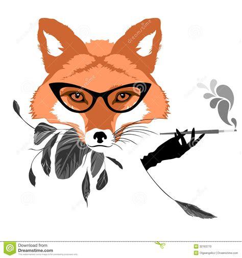 how to create a retro fox illustration in adobe illustrator portrait of fox with cigarette stock vector image 32163770