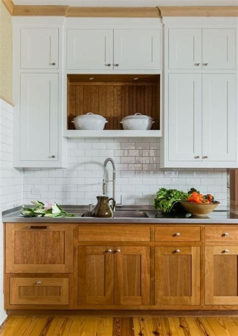two toned stained kitchen cabinets 29 two toned kitchen cabinet ideas to try comfydwelling