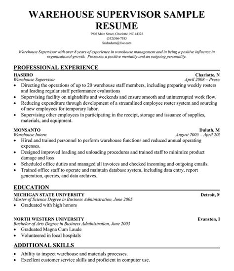 Warehouse Worker Sle Resume by Warehouse Supervisor Resume Sle Best Sle Resume Data Warehouse 28 Images Child Care Cover 100