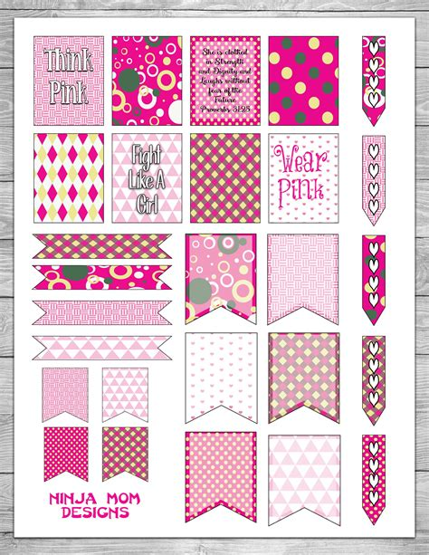 free printable planner stickers pinterest free breast cancer awareness planner stickers day