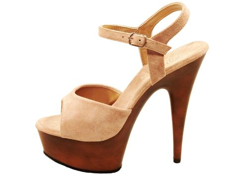 wood high heels pleaser shoes delight 609 fw taupe high heel wood look