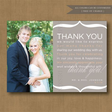 wedding thank you note wedding thank you note card guest with personalised