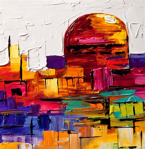 colorful painting cityscape painting colorful painting of jerusalem golden