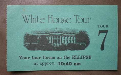 white house tickets white house tour 7 ticket stub blue vintage ellipse 1970s