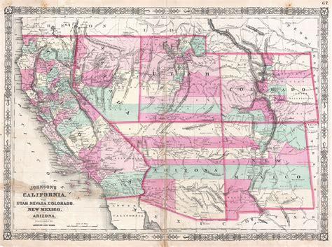 california utah map bestand 1864 johnson map of california nevada utah