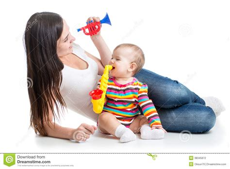 Play Musical Baby baby and play musical toys stock photography image