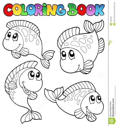 coloring books coloring book with four fishes stock vector image 16836407