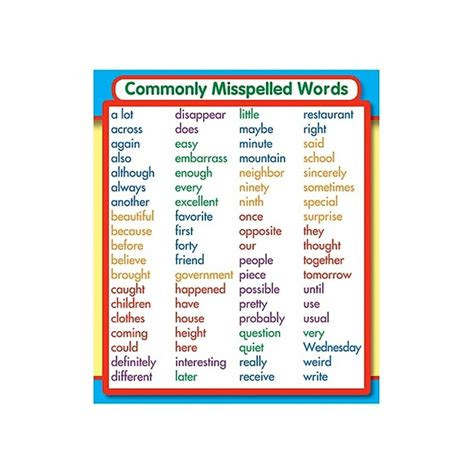 misspelled words commonly misspelled words study buddies by carson dellosa
