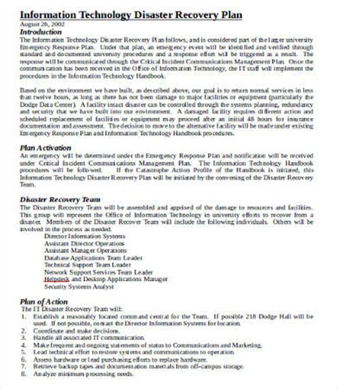 information technology disaster recovery plan template it disaster recovery plan template 8 free word pdf