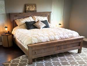Beautiful Wooden King Size Bed Frame Farmhouse King Bed Knotty Alder And Grey Stain Do It