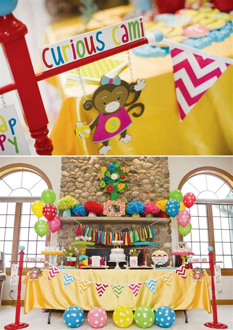 Curious George Decorations by Colorful Modern Curious George Birthday Hostess