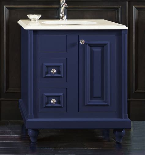 navy vanity colorinspire by wellborn cabinet in sapphire navy blue