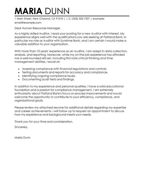 Financial Product Manager Cover Letter by Auditor Sles Cover Letters Livecareer