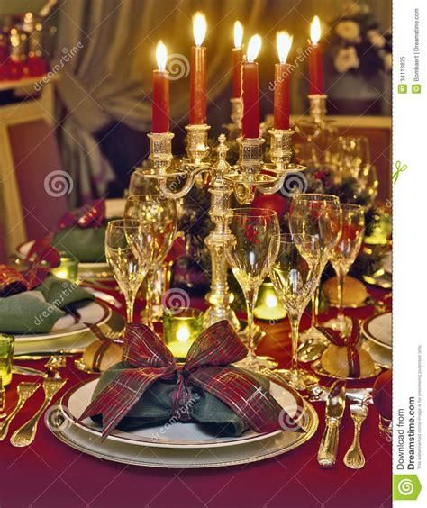 christmas themed dinner table royalty free stock photo
