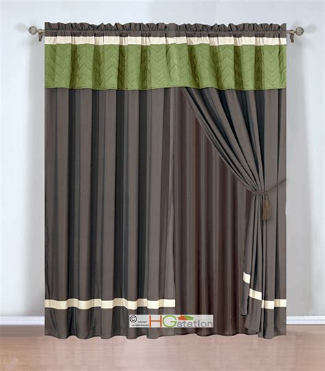 click 4 curtains 4 pc quilted chevron zigzag striped curtain set sage brown