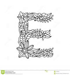 Floral Alphabet Letter Coloring Book For Adults Vector Illustration  sketch template