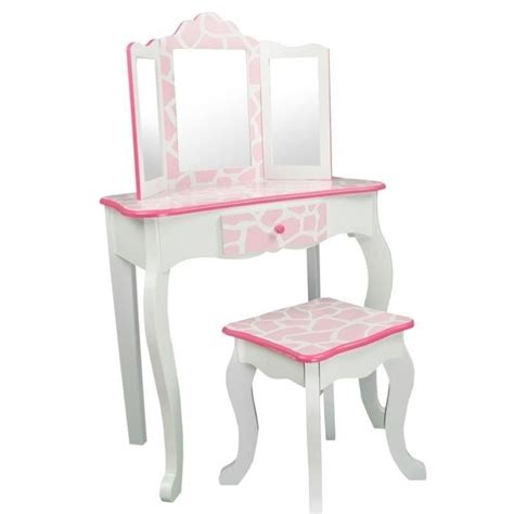 teamson fashion prints vanity set with mirror in pink